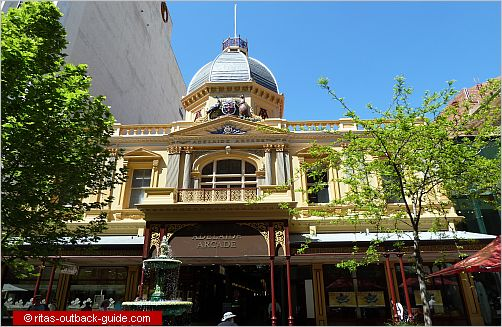 The beautiful Adelaide Arcade at Rundle Mall offers great shopping