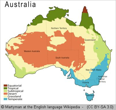 map with australian climate zones