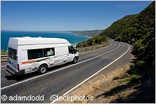 Campervan driving along great ocean road