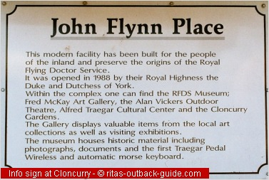 interpretive sign at john flynn's place