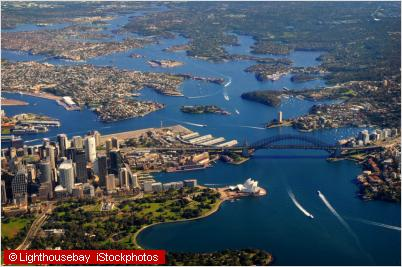sydney harbour from air