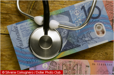 australian notes and a stethoscope