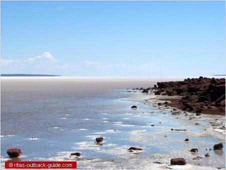 rocky shore of lake gairdner
