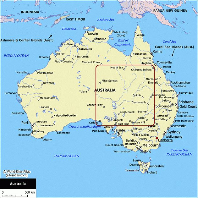 Map of Australia Australian maps for your trip planning – Eastern Australia Map