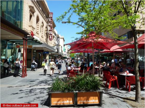 colourful pedestrian mall in adelaide