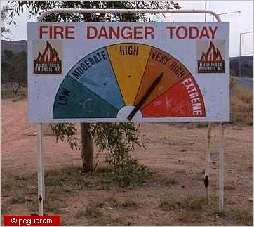 sign that announces the danger of bushfires