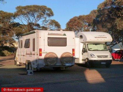 Campervans at a caravan park