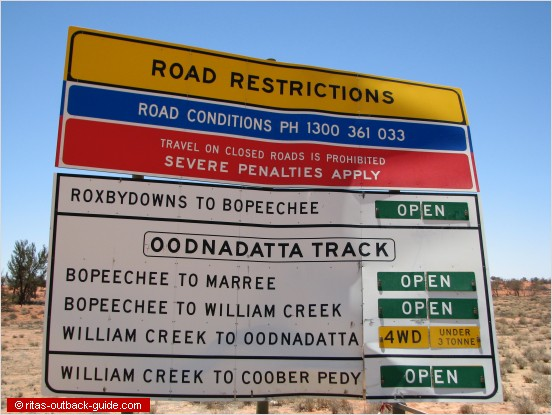 road sign at the start of an Outback track
