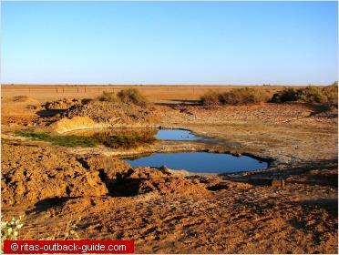 waterhole in a barren outback landscape