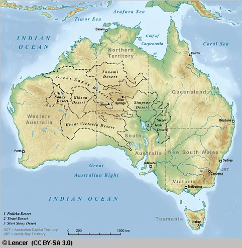 map of australia with desert areas