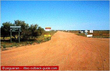 track leaving an outback town