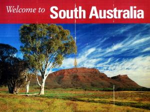 A welcome to South Australia sign