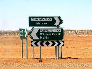 Road signs on the Borefield Road/ Oodnadatta Track junction