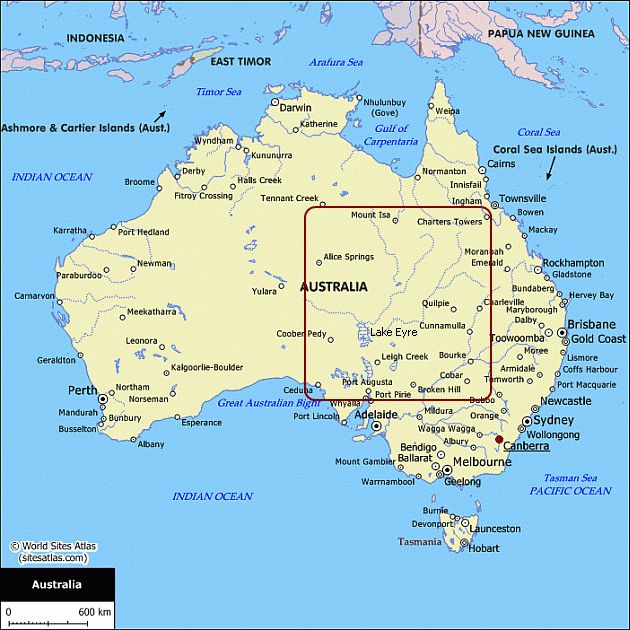 maps of australia with capital cities. Map of Australia