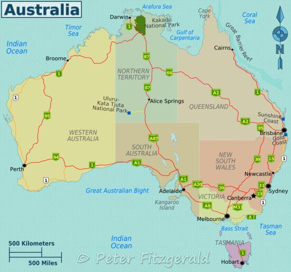 Map showing the Australian states and territories