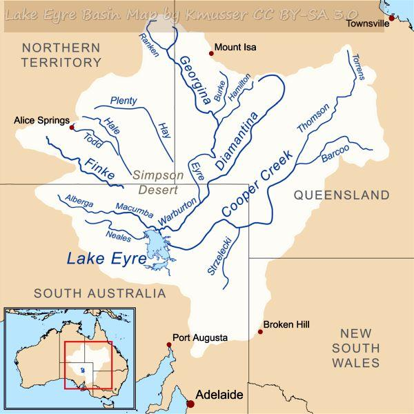 Map of the Lake Eyre Basin showing the major rivers that flow into the lake