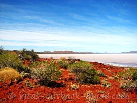 Red sand, golden bushes, a glistening salt lake and a pale sky, that's Lake Gairdner