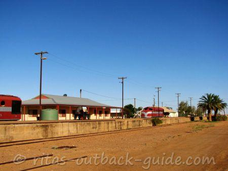 The railway platform and old locomotives in Marree