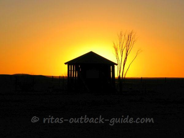 Sunset in the Outback town Marree, at the start of the Oodnadatta and Birdsville Tracks
