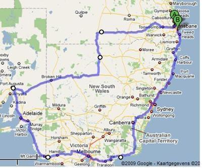 Route Brisbane to Adelaide