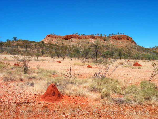 Rocky hill, small termite hills and a perfect blue sky on the way to Mount Isa