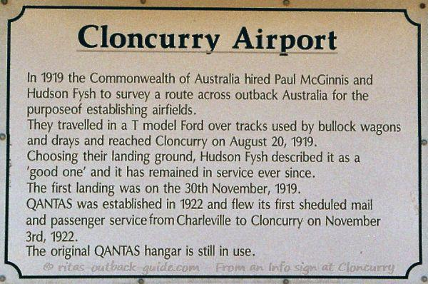 Info sign at the airport in Cloncurry tells the story of Qantas