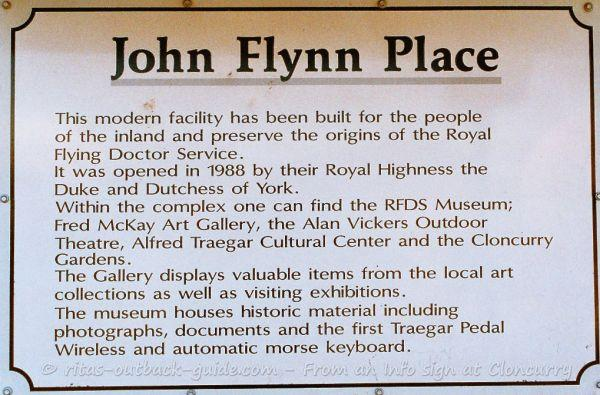 John Flynn place includes the RFDS museum, an cultural centre and art gallery