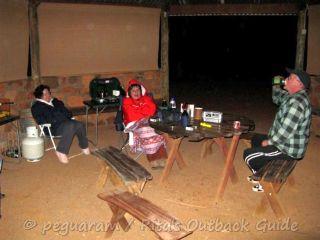 Sitting in the gazebo for shelter