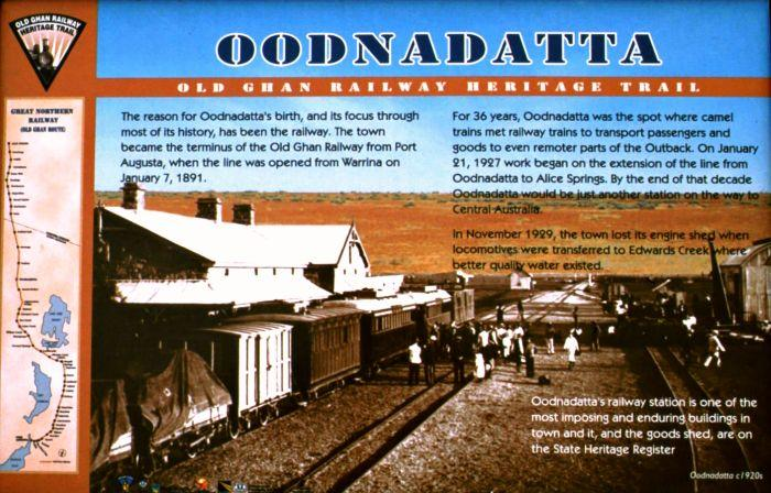 Sign telling about Oodnadatta's history