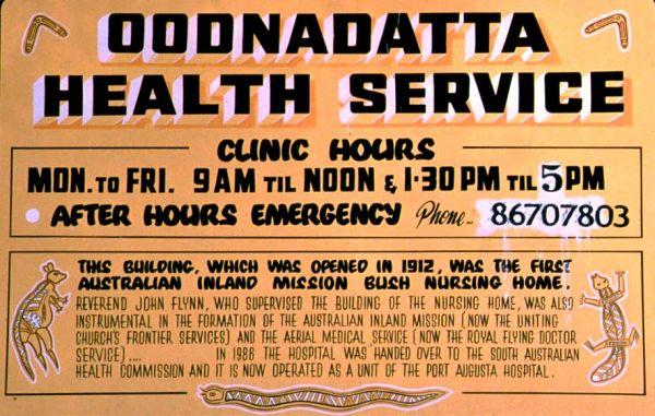 Sign at the Health service in Oodnadatta