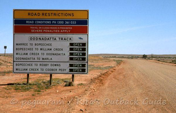 Road sign showing distances along an Outback route in South Australia
