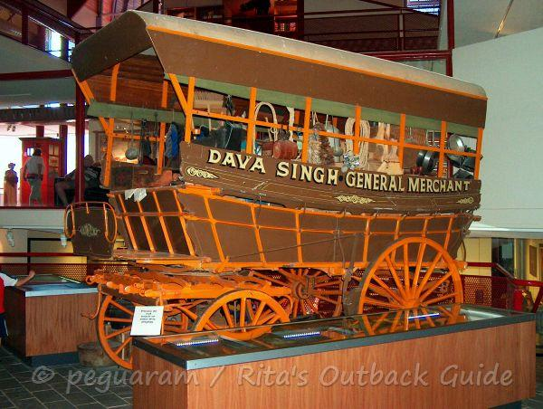 Display of an old merchant coach at the Stockman's Hall of Fame