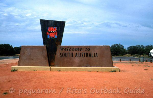 Welcome to South Australia sign on the Stuart Highway