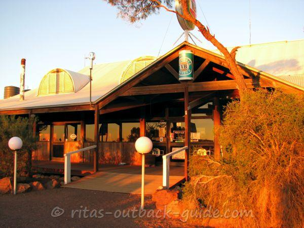 An Outback road house in the evening sun