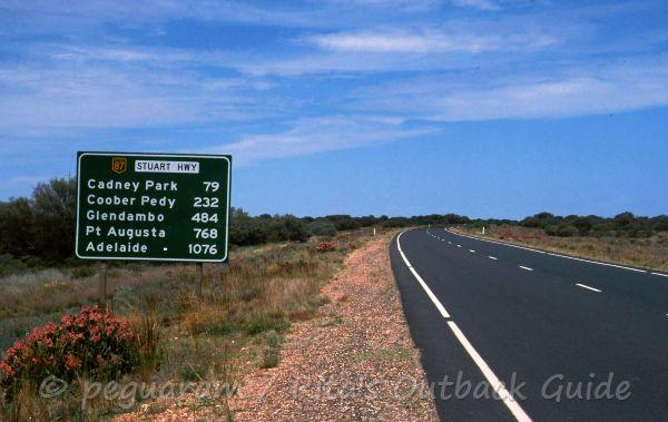 Sign on the highway - it is a long way to Adelaide