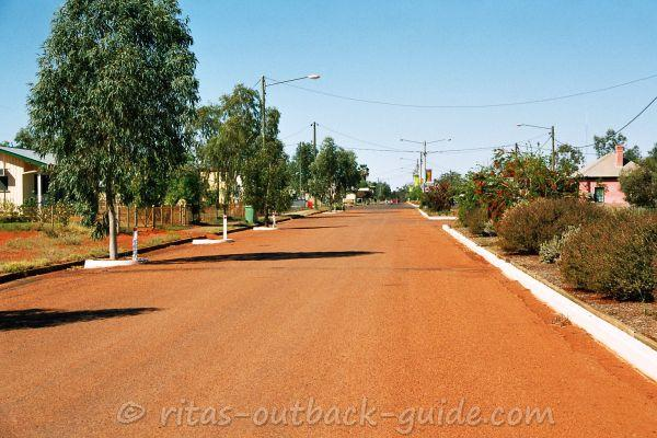 The tree-lined main street in Thargomindah, an  Outback town in south-west Queensland