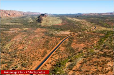 Aerial view of the Stuart Highway