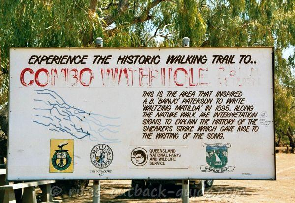 Sign that invites to experience the history of Waltzing Matilda along the walk to combo waterhole