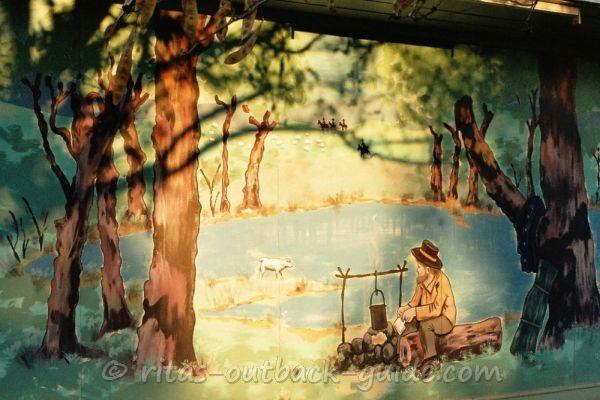 Mural showing the billabong scene in Winton