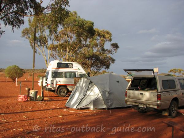 A campervan and a tent at a camp site on Mount Ive